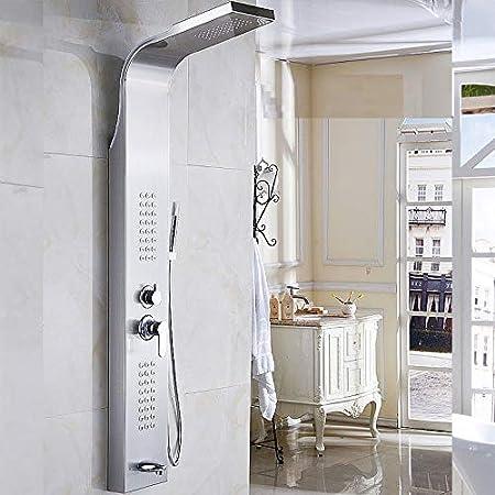 Ducha Ducha Mampara de Ducha Europea Conjunto de Ducha de Acero Inoxidable Columna de Ducha Termostato de baño de Mano Espray Lateral Agua Caliente y fría, Espejo Ducha de baño Grifo mezclad: