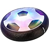 MMOO Air Power Soccer Children Toys Training Football Indoor Outdoor Disk Hover Ball Game with Foam Bumpers and Light Up LED Lights Black