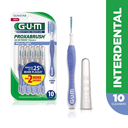 GUM Proxabrush Go-Betweens Interdental Brushes, Micro Tight, 10 Count
