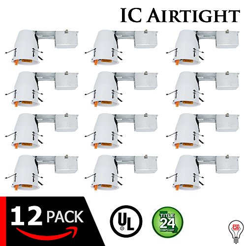 "- 4"" inch LED Remodel Can Air Tight IC Rated Housing for Recessed Lighting – UL Listed and Title 24 Certified (4 inch, 12-Pack)"