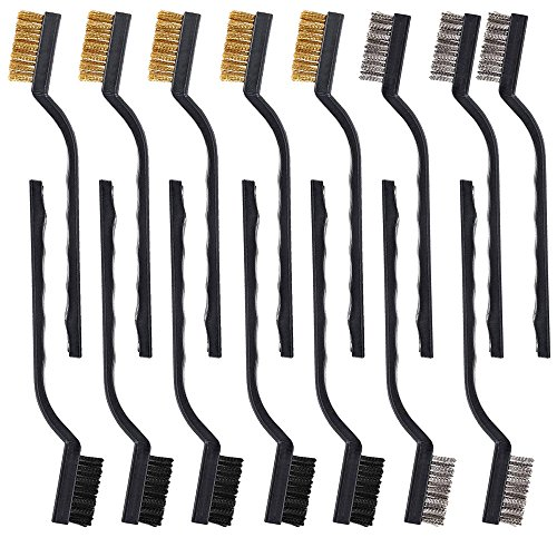 (15 pcs Wire Brush Set for Cleaning Welding Slag and Rust, AFUNTA Masonry Brush with Stainless Steel, Brass and Nylon Bristle Curved Handle)
