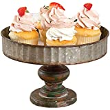 CTW 770064 Corrugated Galvanized Metal Serving Tray Stand for Appetizers Desserts Cupcakes Weddings Tea Holiday Birthday Parties Vintage Inspired Rustic Country Farmhouse Style Home Decor, Gray