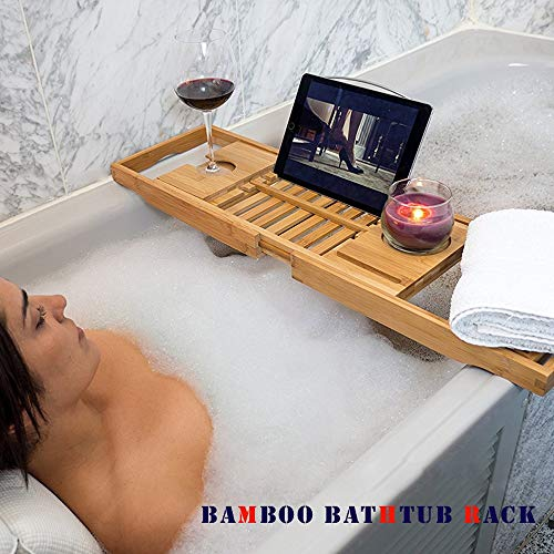 Home Improvement Bathroom Fixtures Bamboo Bathroom Tray Telescoping Bathtub Desk For Phone Laptop Notebook Wine Glasses Candles Bathroom Holder