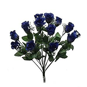 1 Bouquet of 14 Navy Blue Long Stem Roses Buds Silk Wedding Decoration Flowers Artificial Arrangement Bridal Bouquets Decor 33