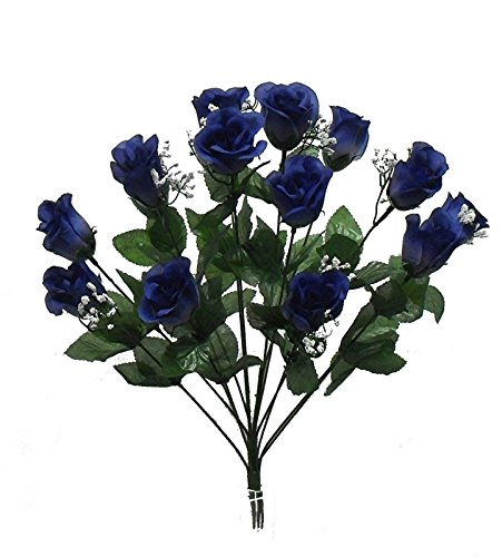 1 Bouquet of 14 Navy Blue Long Stem Roses Buds Silk Wedding Decoration Flowers Artificial Arrangement Bridal Bouquets -