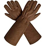 CCBETTER Rose Pruning Gloves with Extra Long Cowhide Sleeves for Men and Women,Breathable Goatskin Leather Thorn Proof Gardening Gauntlet Gloves, Best Garden Gifts & Tools for Gardener and Farmer