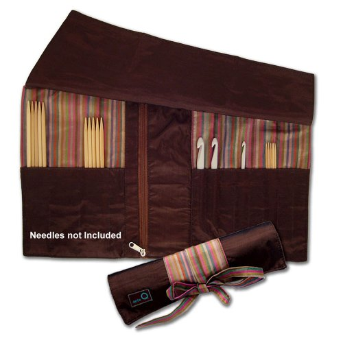 della Q Knitting Roll for Double Point Knitting Needle & Crochet Hooks; 016 Brown Stripes 106-1-016 by della Q