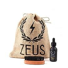 Zeus Beard Oil Kit for Men - Natural Beard Conditioner Softener Kit with 100% Boar Bristle Beard Brush (Verbena Lime)