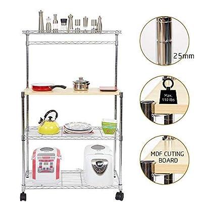 Dporticus 4 Tier Adjustable Kitchen Cart Baker Rack Storage Rack Microwave Oven with Spice Rack Organizer