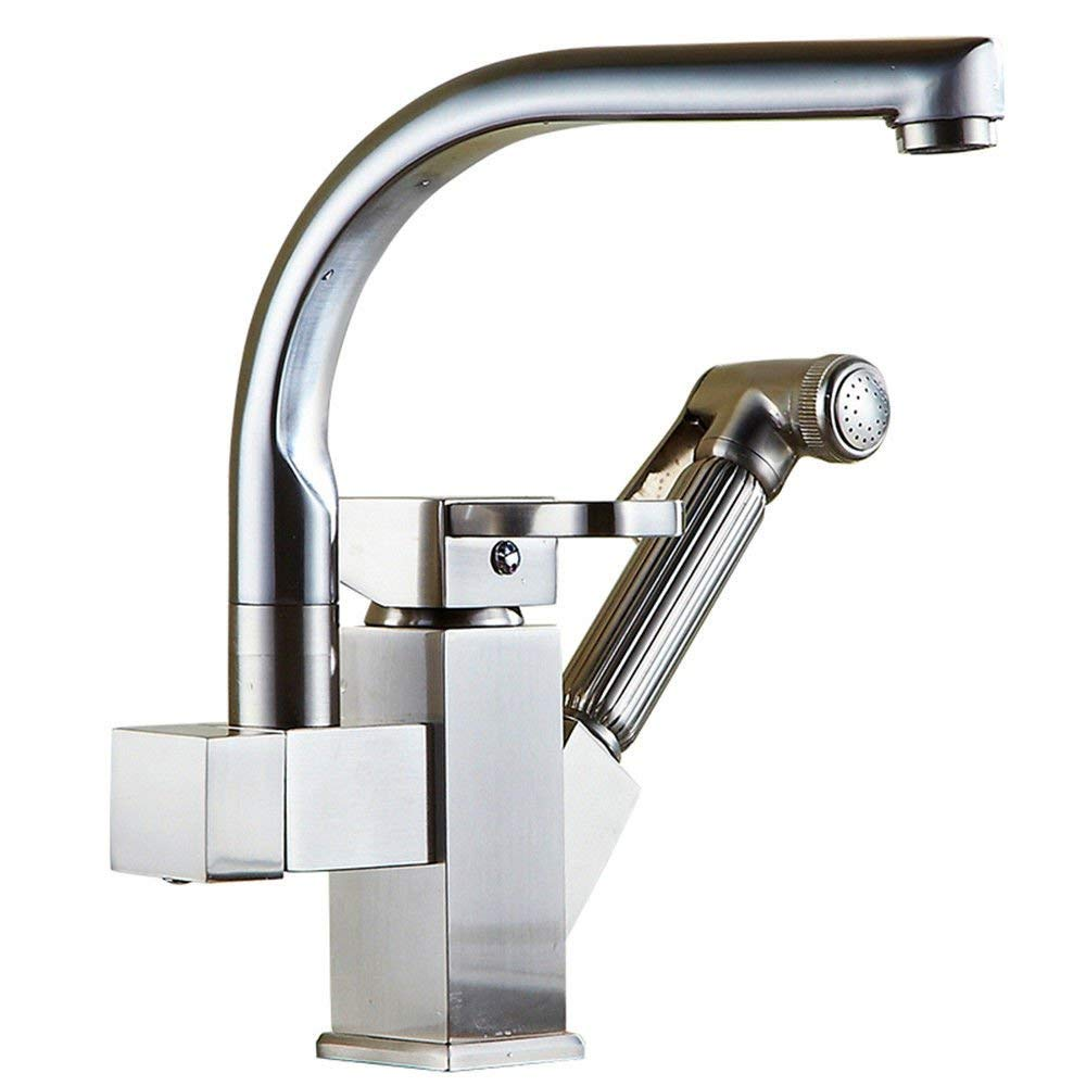 Oudan Basin Mixer Tap Bathroom Sink Faucet Pull the bathroom kitchen faucet hot and cold basin tap dish washing basin sink Faucet 14 (Color : 9)