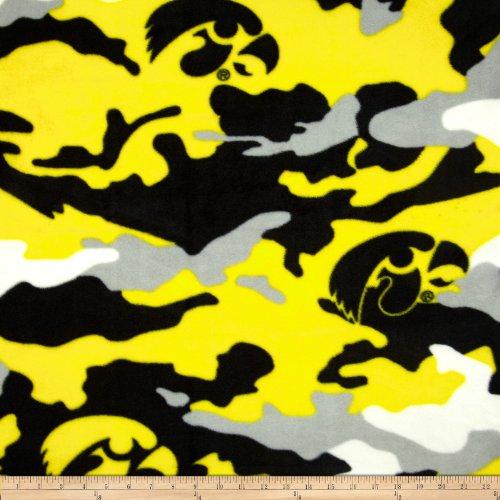University of Iowa Fleece Camo Yellow Fabric By The - Camo Fabric Yellow
