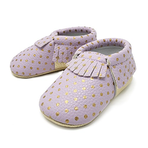 FRILLS Infant Toddlers Baby Boys Girls Soft Soled Fringe Crib Shoes PU Moccasins (0-6 M / 11cm - length, 6cm - width, Purple/Gold Dots)