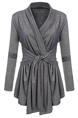 ABCWOO Womens Solid Tunic Pullover Long Sleeve V Neck Tie Up Front Pleat Blouse Top (Top Tri Tie)