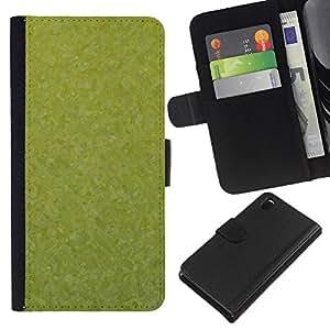 KLONGSHOP // Tirón de la caja Cartera de cuero con ranuras para tarjetas - Textura verde - Sony Xperia Z3 D6603 //