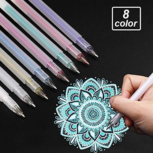 - Max Corner Vibrant Color Gel Pens, 8 Pcs Fine Ball Point Pen for Dark Black Paper Scrapbook Card Making Art Craft Supply 0.8 mm