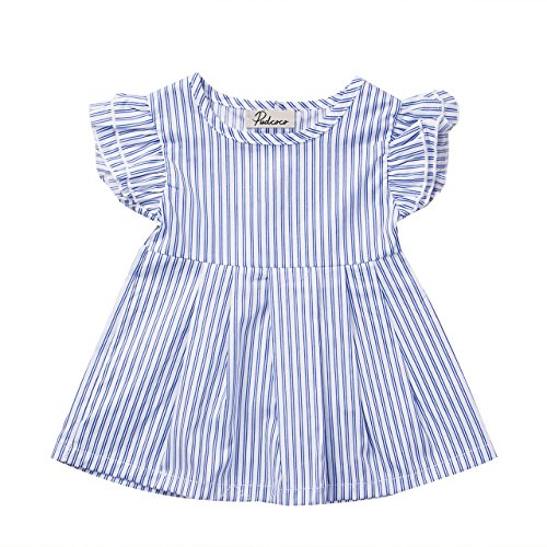 Baby Little Girls' Dress Sleeveless Blue Striped Princess Summer Dresses Blouse Tops (12-18M, Blue)