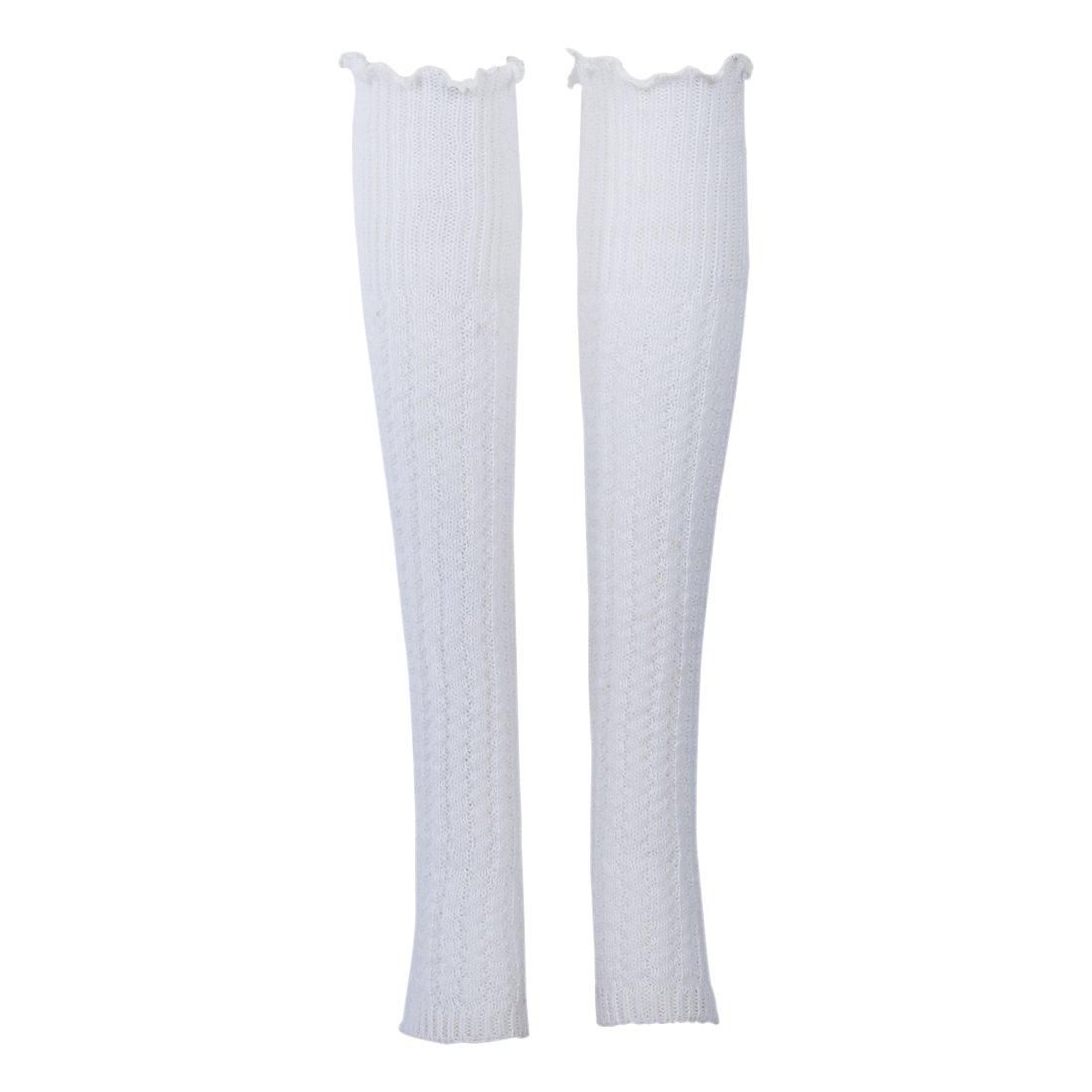 SODIAL(R) Donne maglia Gamba Scalda senza dita Calza - buio blu + grigio + rosso, 55 cm