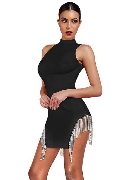 Amazon.com: whoinshop Vestido de fiesta sin mangas, cuello ...