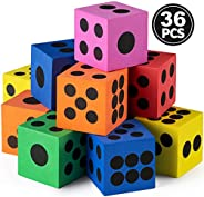 Foam Dice Set - Bulk Pack of 36, 1.5 Inch Large Assorted Colorful Foam Dice Cubes with Number Dots, Use for Ki