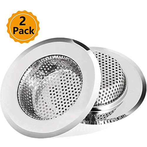 (2 Kitchen Stainless Steel Sink Strainers Large Wide Rim 4.5