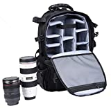 Superstore Camera Backpack Extra Large DSLR/SLR Camera Case Professional Padded Waterproof Lens Storage Bag Tripod Holder with Rain Cover Outdoor Hiking Rucksack for Canon/Nikon/Sony/Pentax