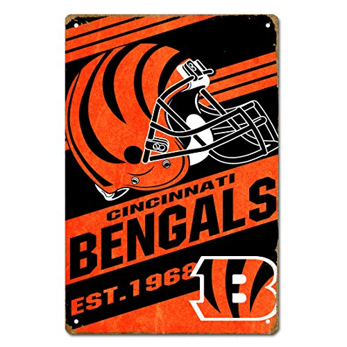 MamaTina Cool Vintage Cincinnati Bengals American Football Team Design Metal Tin Signs for Home Wall Decor Size 12x8 Inches