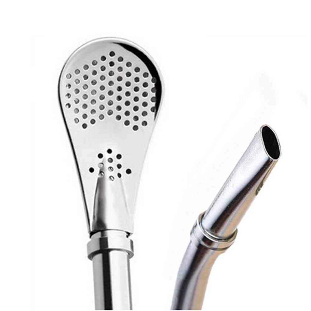 TXIN 2 Pack Stainless Steel Drinking Spoon Straws Yerba Mate Bombilla Gourd Drinking Filter Straws Stirrer with 2Pcs Cleaning Brush