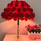 RUIDA Table Lamps Red Rose Bedside Lamps Crystal Base Modern Living Room Kids Bedroom Lamps Reading Desk Lamp Shades (Birthday Party Wedding Decor Gift for Adults)6W E26 Led Bulb Plug Power No USB