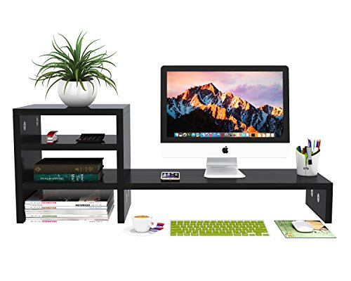 "Monitor Stand Computer Screen Riser Large MDF Wood PC Rack with 2-Tier Desktop Storage Organizer Shelf for Cellphone TV Books Multimedia Laptop Printer Office Home(Black,31.5"",Space Saving)"