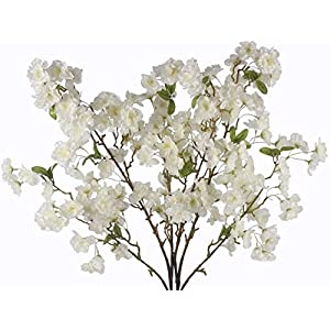 MyHappyFamily 6 Pcs Artificial Cherry Blossom Branches Flowers Stems Silk Tall Simulation Fake Flower for Home Wedding Decor 39 Inch White 98