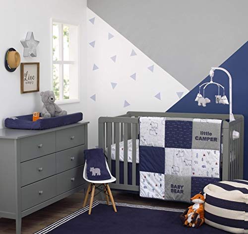 Carter's Explore Baby Bear 4Piece Navy, Grey, Light Blue, Orange Nursery Crib Bedding Set - Comforter, 100% Cotton Crib Sheet, Dust Ruffle, Changing Pad Cover, Navy, Grey, Light Blue, Orange