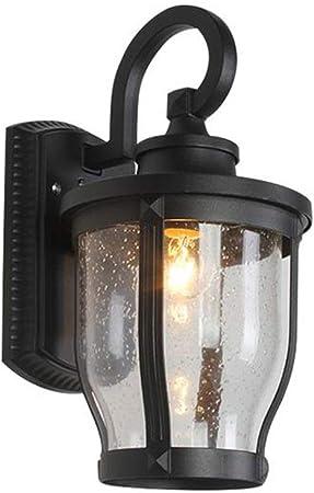Pointhx Porche Jardín Vía de vidrio Aplique de pared Negro Vintage Lámpara de luces de pared al aire libre Industrial Retro LED Iluminación de pared Exterior Villa Jardín Linterna: Amazon.es: Hogar