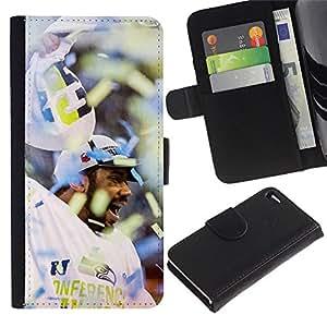 LECELL--Cuero de la tarjeta la carpeta del tirón Smartphone Slots Protección Holder For Apple Iphone 4 / 4S -- Fanático del fútbol americano --