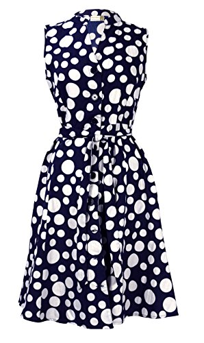 - Peach Couture Women's Collared Floral Sleeveless Knee Fit-and-Flare Dress Navy White Polka Dot, XL