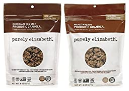 Purely Elizabeth Gluten Free Non-GMO Probiotic Granola 2 Flavor Sampler Bundle: (1) Chocolate Sea Salt, and (1) Maple Walnut, 8 Oz. Ea. (2 Bags)