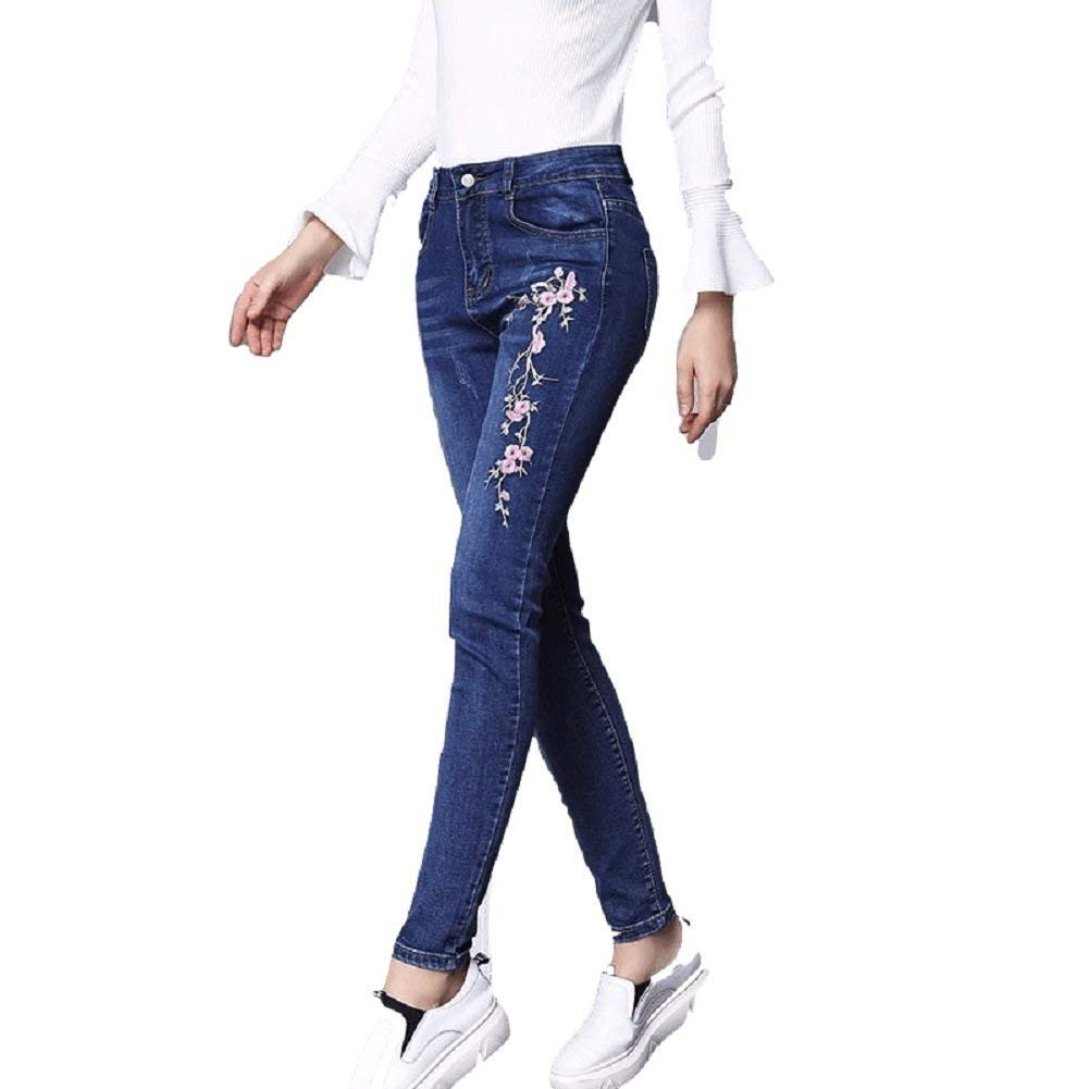 Adelina Damen Vintage Bestickt Skinny Jeanshose Taille Hohe