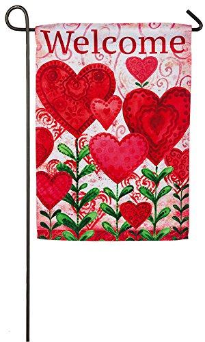 Evergreen Planted Valentine Suede Garden Flag, 12.5