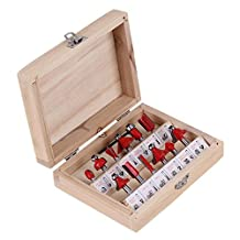 "BQLZR 1/4"" Shank Woodworking Tungsten Carbide Tipped Router Bit Set DIY Tool Kit With Wooden Case Set of 12pcs"