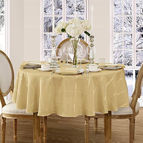 Newbridge Elegance Plaid Christmas Fabric Tablecloth, 100% Polyester, No Iron, Soil Resistant Holiday Tablecloth, 90 Inch Round, Ribbon Gold (Elegance Tablecloth Gold Round)