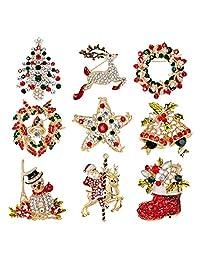 vLoveLife 9pcs Rhinestone Crystal Christmas Brooch Pin Set for Christmas Decorations Ornaments Gifts Including-Christmas Tree,Santa Claus,Snowman,Jingle Bells,Star,Garland,Reindeer