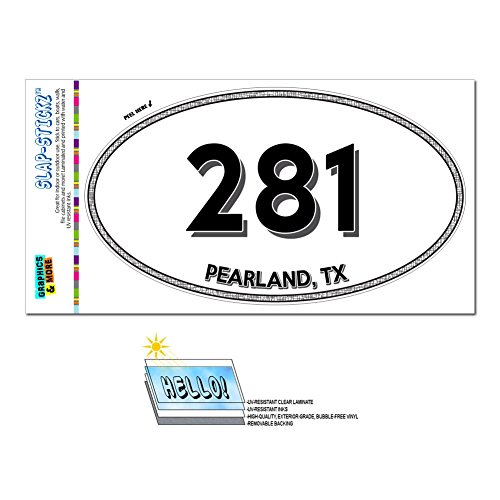 Graphics and More Area Code Euro Oval Window Bumper Laminated Sticker 281 Texas TX Alvin - Webster - - Pearland Tx