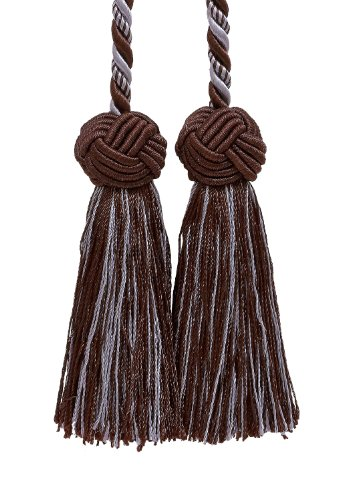 Double Tassel / Brown & Light Blue / Tassel Tie w/ 3.5 inch Tassels, Baroque Collection Style# BCT Color: MOCHA ICE 24B ()