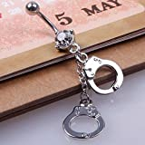 HITTIME Surgical Steel Handcuffs Crystal Navel Belly Button Barbell Rings Body Piercing Jewellery Unisex