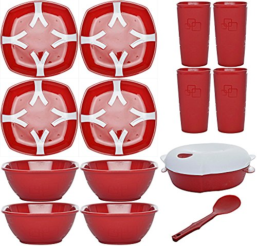 Cutting Edge Dual Colour Microwave Dinner Set, 4 Person, 15 Piece Set, Blossom Red