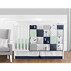 Navy Blue, Mint and Grey Woodsy Deer Boys Baby Bedding 11 Piece Crib Set Without Bumper