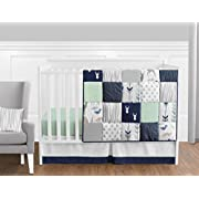 Sweet Jojo Designs 11-Piece Navy Blue, Mint and Grey Woodsy Deer Boys Baby Bedding Crib Set Without Bumper