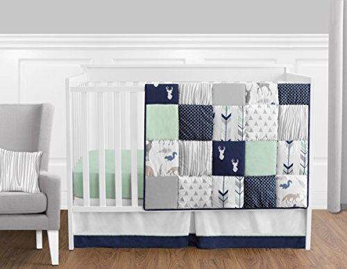 Navy-Blue-Mint-and-Grey-Woodsy-Deer-Boys-Baby-Bedding-11-Piece-Crib-Set-Without-Bumper