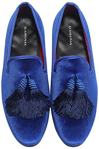 ELANROMAN Mens Loafers Velvet Shoes with Tassel Handmade Casual Shoes Slip-on Loafers Luxury Men Velvet Shoes Red Blue