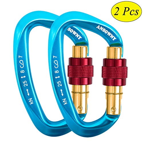(ANSOWNY 25KN Auto Locking Carabiner Clip Heavy Duty Screwgate, Rated 5500lbs Aluminum Twistlock Carabiner D-Ring for Climbing, Rappelling, Hiking, Hammock, Dog Leash – Blue, 2 Pack (25KN, 2 Blue))