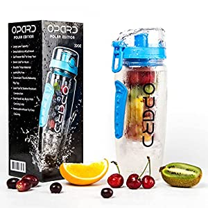 Opard Infuser Water Bottle 32oz Insulated Narrow Mouth Sports Hydration Flip-Top Lid Tritan BPA-Free with Gel Freezer and Fruit Infuser (Blue)
